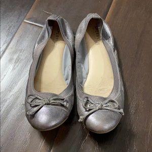 Sperry Elise Silver Metallic Ballet Flats sz 8.5